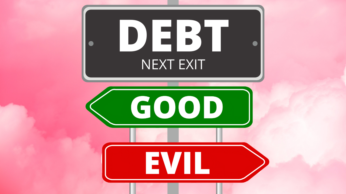 road sign representing the road to good debt vs bad debt with pink sky background